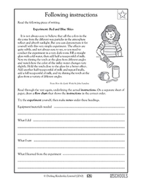 5th grade reading writing worksheets following instructions greatkids