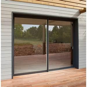 Baie vitree aluminium gris brico premium h215 x l240 cm for Porte de garage coulissante et porte de service vitrée