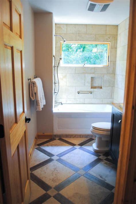 neutral guest bathroom exudes rustic elegance hgtv