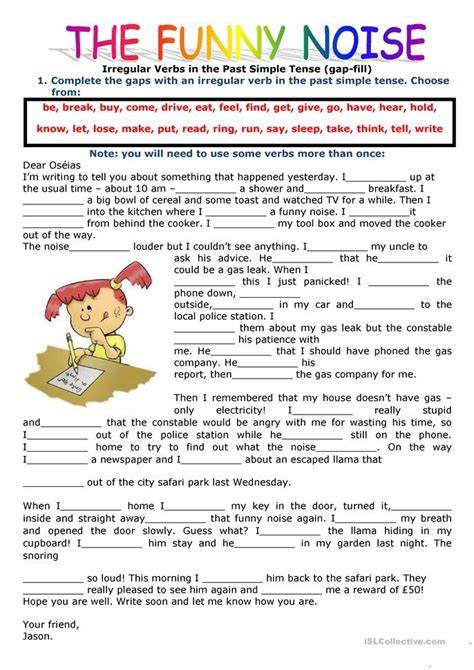 Past Simple Tense Filling In The Gaps Using The Verbs In The Past Simple Worksheet  Free Esl