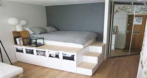 deco chambre avec palette diy déco lit avec rangement à faire avec 3 fois rien