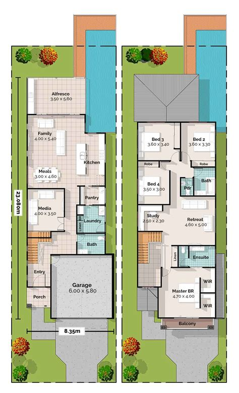 Planos de una casa de 2 pisos 🤩 ¡Hermosa 【 4 Dormitorios