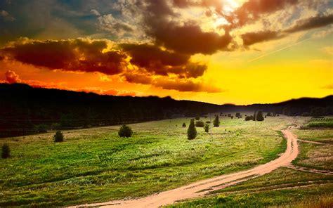 Sun Sky Clouds Sunset Field Art Surreal Landscapes Sunset