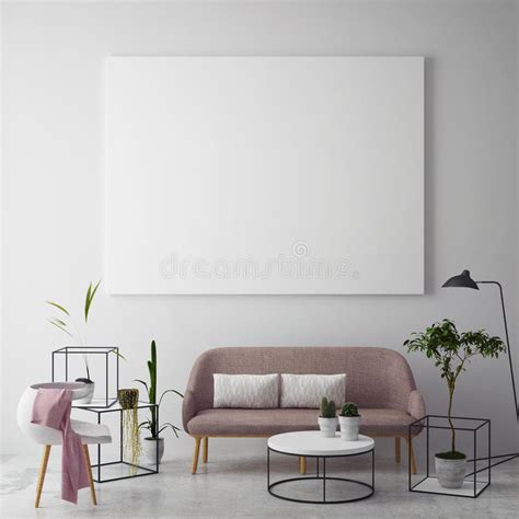Designing a poster for a living room, heck, even a dining room, is one thing, but making sure everything fits the end product is another story. Mock Up Blank Poster On The Wall Of Hipster Living Room Stock Illustration - Illustration of ...
