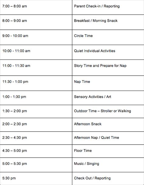 daily daycare schedules for infants toddlers 131   Infant Daily Daycare Schedule
