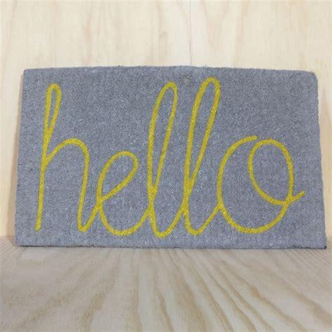 gray doormat hello doormat in grey with yellow hello gift goodness