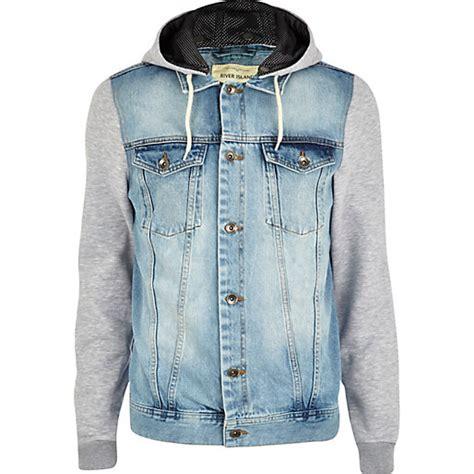 light wash denim jacket mens light wash jersey sleeve denim jacket denim jackets