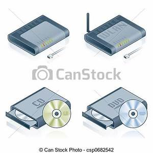Clip Art of Computer Hardware Icons Set - Design Elements ...