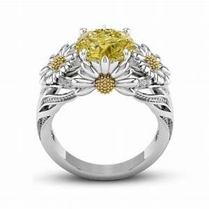 925 silver fashion 35ct citrine daisy women jewelry With daisy wedding ring