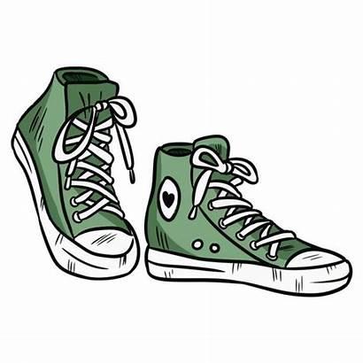 Pair Vector Sneakers Illustration Cartoon Shoe Toe