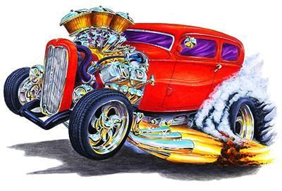 hot rod muscle car art cartoon tshirt  hot