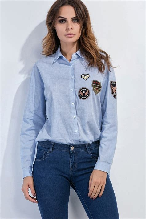 light blue button up shirt womens light blue sleeve badge applique button up shirt