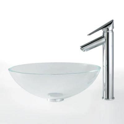 Kraus Vessel Sinks Home Depot by Kraus Glass Vessel Sink In Clear With Decus Faucet