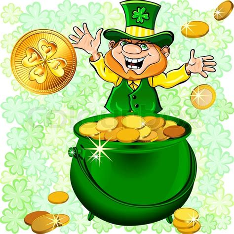 vector st s day happy leprechaun with a pot of gold coins on a meadow of clover