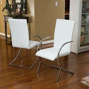 Set Of 2  Modern Design White Leather   Chromed Steel