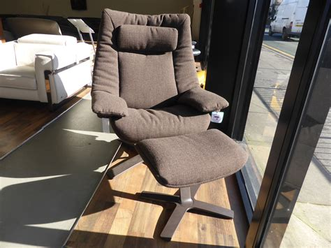 Natuzzi Swivel Chair Brown by Natuzzi Revive Casual Swivel Chair Footstool Brown