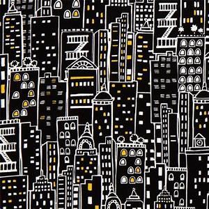 Tissu New York : tissu de cr ateur noir avec des gratte ciel de new york tissus r tro tissus boutique modes4u ~ Dode.kayakingforconservation.com Idées de Décoration