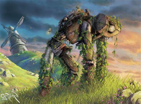robot, Fantasy Art, Vines, Windmills, Hill, Fireflies ...