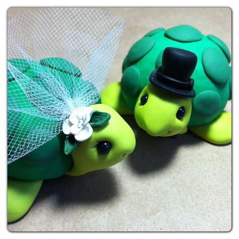 Turtle Cake Decorations - ready to ship turtle wedding cake topper handmade