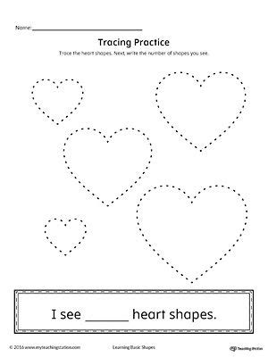 geometric shape counting  tracing heart shapes