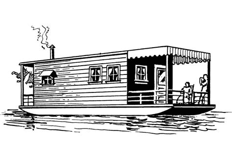 House Boat Drawing by Coloring Page Houseboat Img 13705