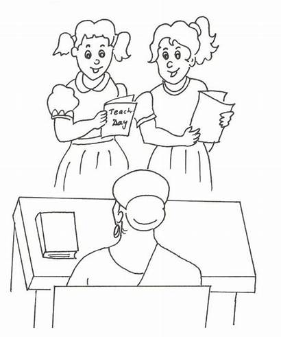 Teacher Coloring Pages Card Greeting Happy Thank