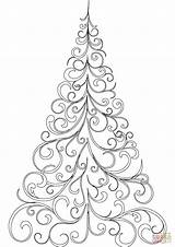 Coloring Tree Christmas Swirly Drawing Pages Printable Easy Outline Children Trees Printables Crafts Getdrawings Mandala Ornaments sketch template