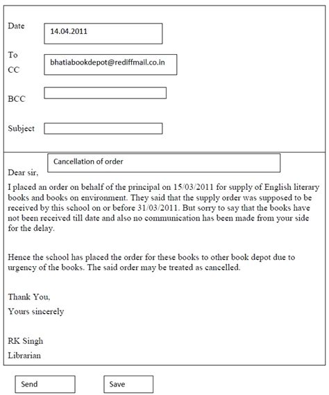 cbse class  english support material writing letter