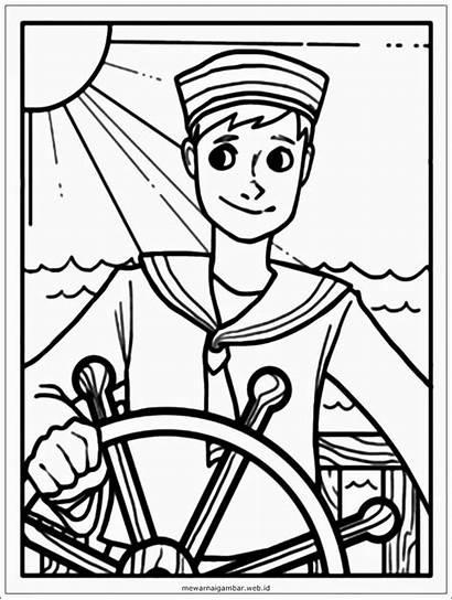 Mewarnai Gambar Nelayan Coloring Sailor Kartun Pelaut