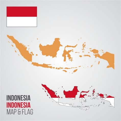 indonesia map  flag vector