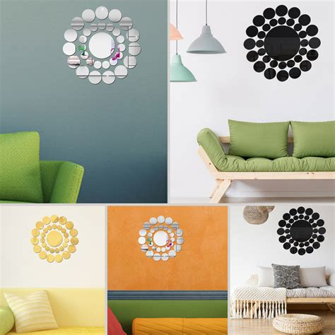 Amazon com aooyaoo circle mirror diy wall sticker wall decoration. 33pcs 3D Round Mirror Wall Stickers Art Mural Decal DIY Dining Room Bedroom Kitchen Home Room ...
