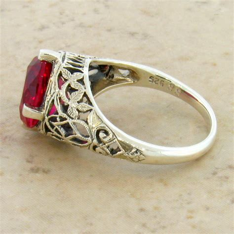 5 carat lab ruby antique deco style 925 sterling silver filigree ring 76 ebay