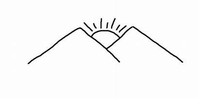 Mountain Drawing Drawn Draw Sun Step Drawings