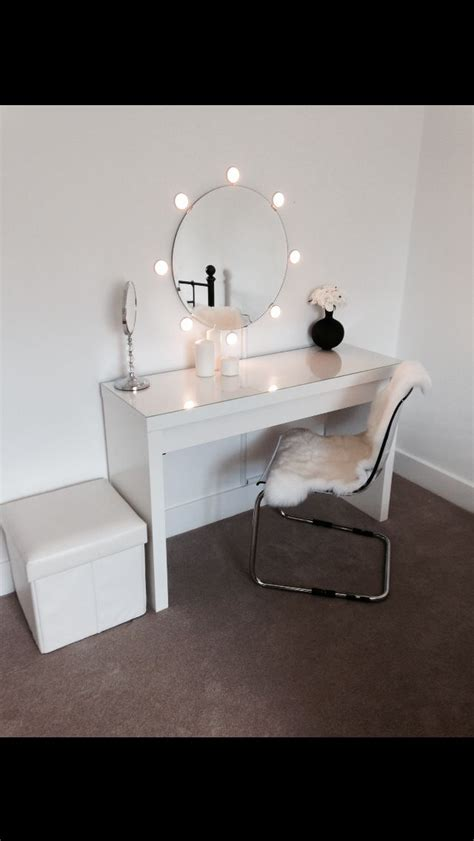vanity table with lights around mirror ikea malm dressing table with round mirror and lights