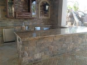 granite bbq island top bullnose edge details accent with
