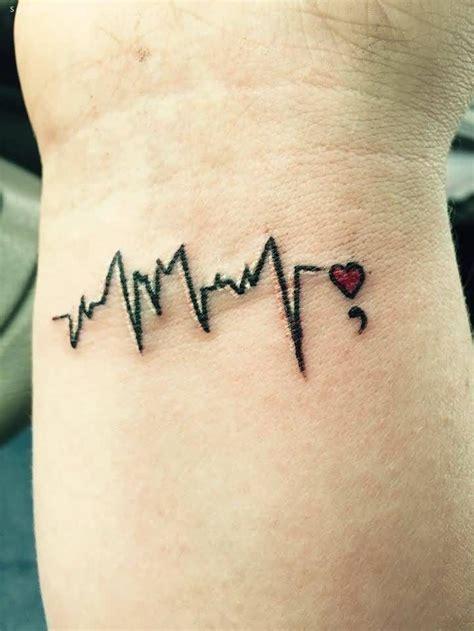 heartbeat  semicolon tattoo  wrist  love  red