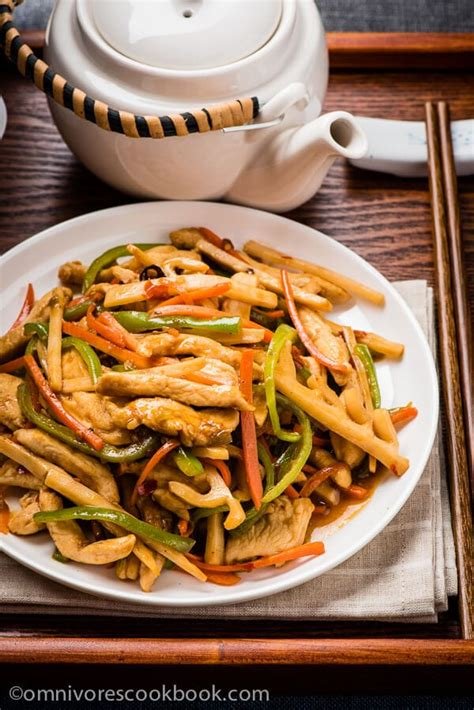 yu xiang rou  sichuan shredded chicken stir fry