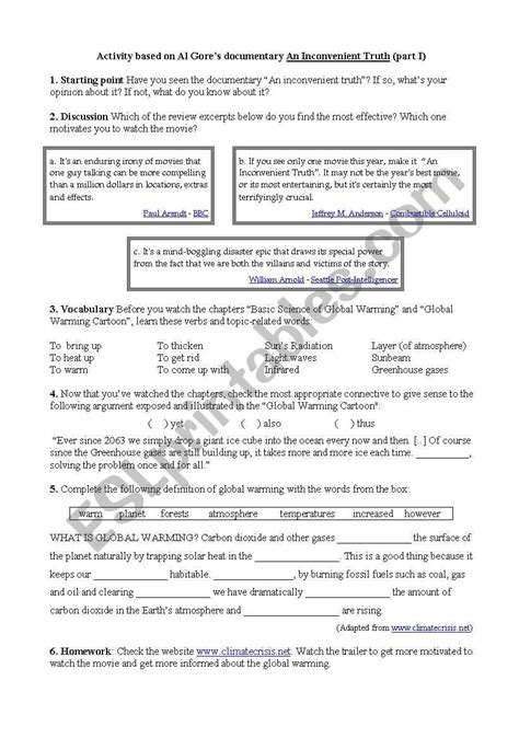 An Inconvenient Truth  Esl Worksheet By Marial