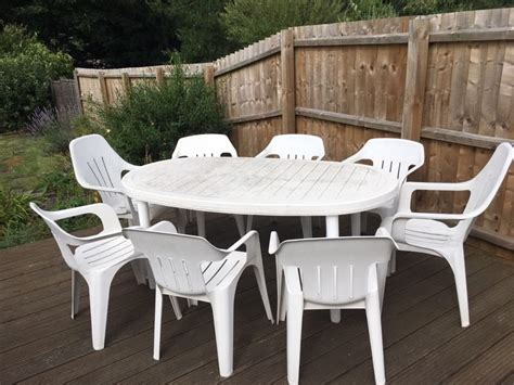 8 seat white plastic garden table chair set in ipswich