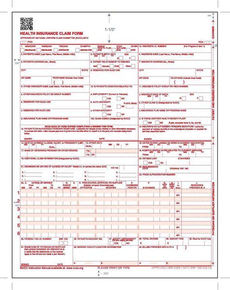 Blank 1500 health insurance claim form