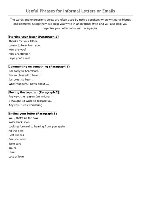 Useful phrases for informal letters or emails