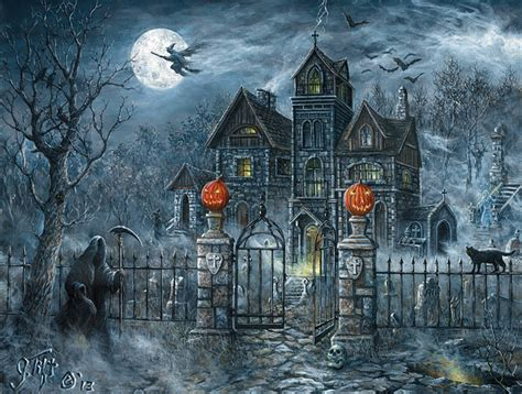 uninvited guest halloween puzzle  jeff tift  sunsout