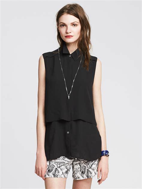banana republic blouses banana republic layered sleeveless blouse in black lyst