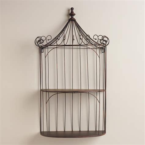Brown Wrought Iron Shelf Birdcage World Market