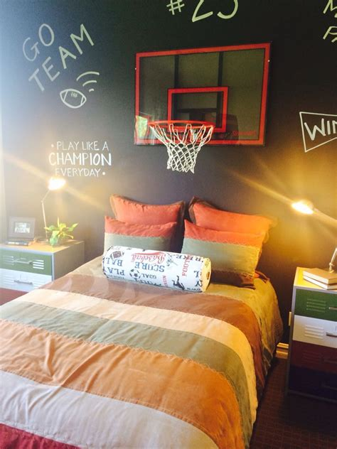 Decorating rooms for girls and boys is always inspiring for the parents they invest a lot of effort love and care to make for their children the most. Boy's basketball bedroom with chalkboard wall | Baseball themed bedroom, Basketball bedroom, Boy ...