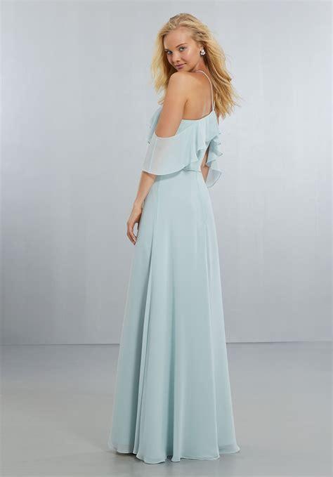 chiffon bridesmaids dress  flounced neckline style
