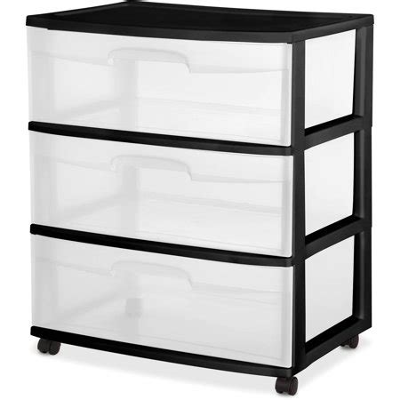 sterilite 5 drawer cart sterilite 3 drawer wide cart black walmart