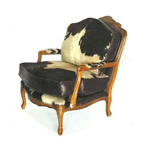 bergere black and white cowhide chair