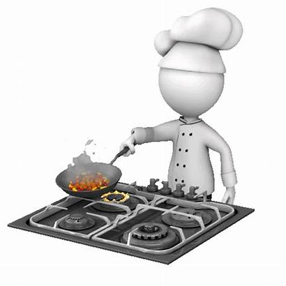 Cooking Chef Animated Pan Bonhomme Blanc Power