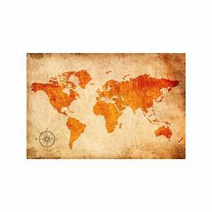 Carte Monde Deco : decoration murale carte du monde horizon de couleurs oranges promo home photo ~ Teatrodelosmanantiales.com Idées de Décoration